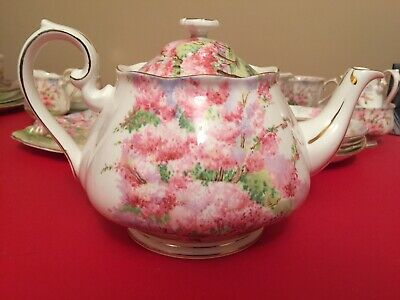 Royal Albert 6 Cup Blossom Time Large Teapot 1# Quality England Excellent