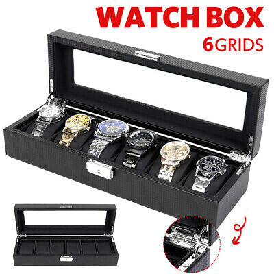 🔥6Grid Carbon Fiber Watch Box Gift Storage Case Jewelry Display Luxury Organize