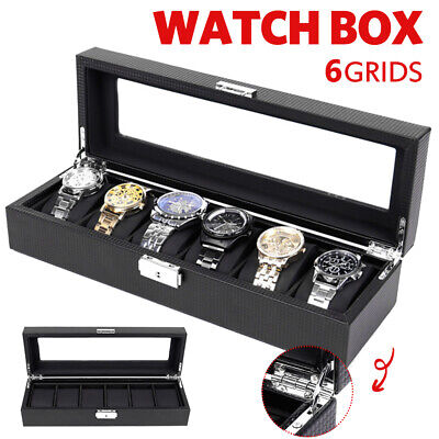 6 Grids  PUleather /carbon Fiber Watch Storage Box Gift  Jewelry Case