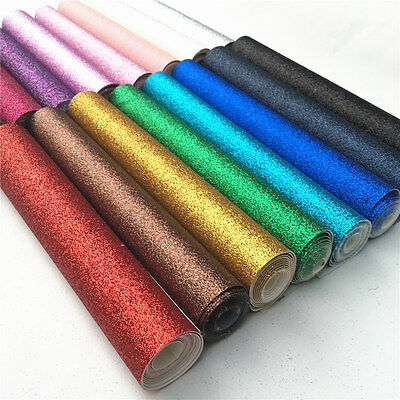 ZAIONE Fine Glitter Fabric Faux Leather Vinyl Metre Bows Craft Material Sheets