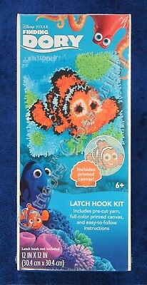 "Latch Hook Kit Disney Nemo Clownfish 12"" x 12"" Dimensions Printed Canvas"