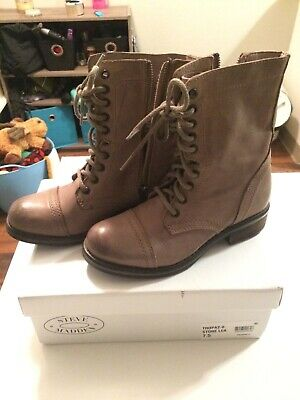 eae9fa3726d STEVE MADDEN TROOPA Black Leather Lace Up Combat Boot W/ Box Women's ...