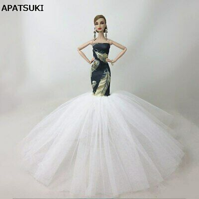 """Green Feather Fashion Mermaid Clothes For 11.5"""" Doll Fishtail Wedding Dress 1/6"""