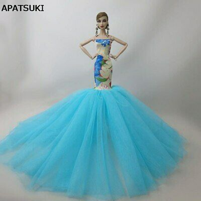 """Blue Fashion Mermaid Clothes For 11.5"""" Doll Fishtail Wedding Party Dress 1/6 Toy"""