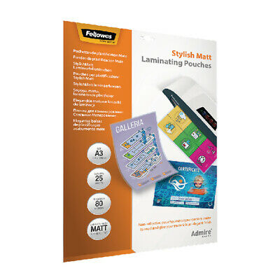Fellowes Admire Stylish Matt A3 Laminating Pouches 160 Micron (Pack of 25) 56022