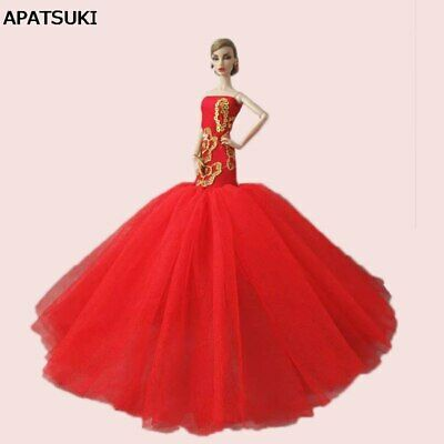 """Red Lace Mermaid Clothes For 11.5"""" Doll Dress Fishtail Wedding Dress 1/6 Kid Toy"""