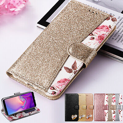 Case For Samsung Galaxy J4 J6 Plus S10 Glitter Leather Wallet Flip Stand Cover