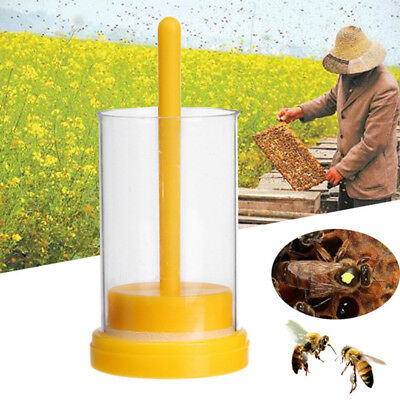 1PC Bee Queen Marking Marker Cage Bottle With Soft Plunger Beekeeping Tool  I