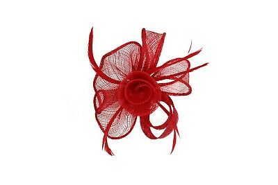 NEW Small Flower Feather Hat Fascinator Brooch Clip Wedding Royal Ascot Formal