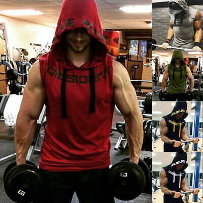 Men's Gym Fitness Muscle Mesh Hoodie Sleeveless Singlet T-shirt Top Vest Tank AU