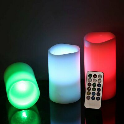 2 Large Wax Flameless Flickering Candle LED Lights w/ Remote Control UK 7*12.5