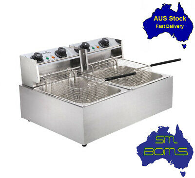 Commercial Deep Fryer Electric Double Twin Basket Cooker Stainless Steel 10L x 2