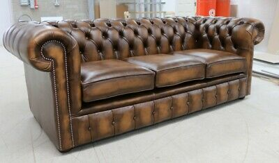 New Chesterfield Tufted Buttoned 3 Seater Sofa Couch Real Vintage Tan Leather