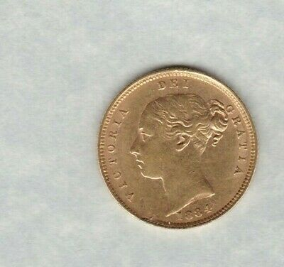 1884 Victoria Shield Back Gold Half Sovereign In Near Extremely Fine Condition