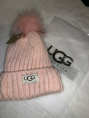 316622990dcf6 Women s Accessories UGG Womens Winter White Solid Ribbed Fleece Lined Beanie  Hat With Pom Pom