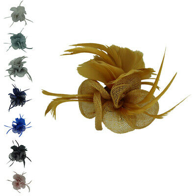New Small Flower Feather Wedding Hat Fascinator Brooch Clip Royal Ascot Formal