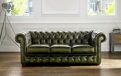 New Chesterfield Buttoned 3 Seater Sofa Couch Real Antique Olive Green Leather