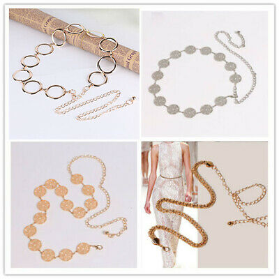 Women Fashion Belt Silver Gold Metal Chain Ring Circles Charms Hip Waist