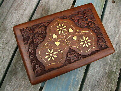 """WOODEN HAND CARVED BOX Storage JEWELLERY INDIAN Trinket MEMORY CRAFT BOX 6""""x 4"""""""