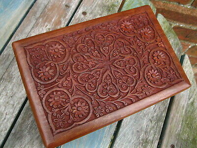 """WOODEN HAND CARVED BOX Storage JEWELLERY INDIAN Trinket MEMORY CRAFT BOX 9""""x 6"""""""