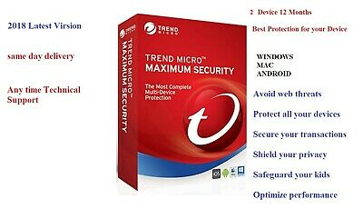 Trend Micro Maximum Security 2018 v12 | 2 Devices | 1 Years | PC | MAC | Android