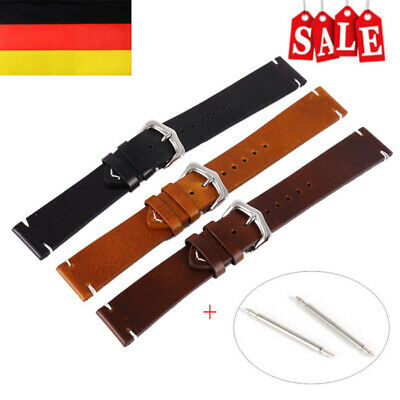 Vintage Retro Uhrband Look genuine Leder Band Strap + Pin Ersatz 18-22mm Armband