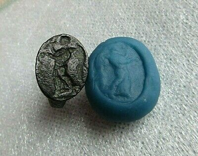 """NICE ANCIENT ROMAN LEGIONARY BRONZE RING WITH """"Nike"""" - DETECTOR FIND"""