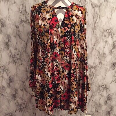 d2cb87a487148 UMGEE BOHO BLACK Floral Embroidered Long Sleeve Hippie Peasant Dress ...