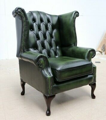 Georgian Chesterfield Queen Anne High Back Wing Chair Vintage Green Leather