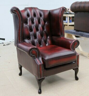 Georgian Chesterfield Queen Anne High Back Wing Chair Vintage Red Leather