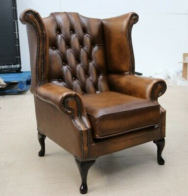 Chesterfield Georgian Queen Anne High Back Wing Chair Vintage Tan Leather