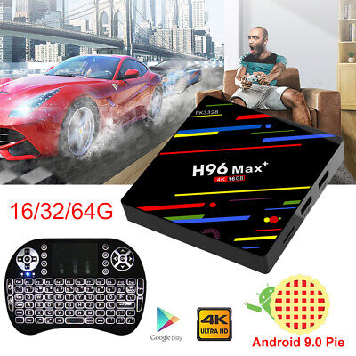 Newest Android 9.0 H96 Max+ TV Box Quad Core 16/32/64GB WIFI 4K 3D + Keyboard i8