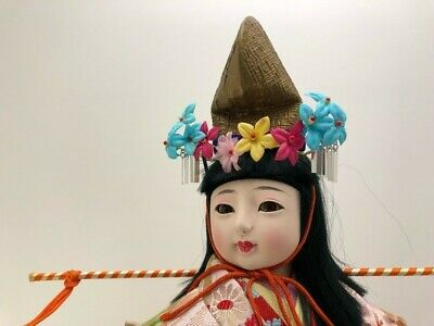 High class Japanese doll  'Girl carrying water' Kimono Antique glass eyes