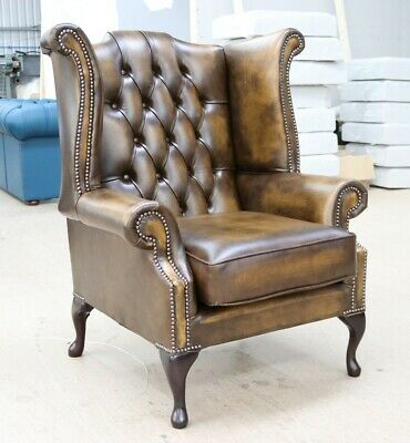 New Chesterfield Scroll Buttoned High Back Wing Chair Antique Gold Leather
