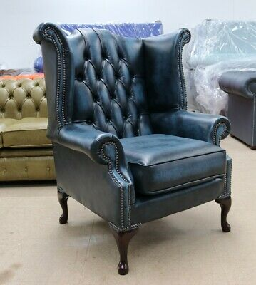 Chesterfield Georgian Queen Buttoned High Back Wing Chair Vintage Blue Leather