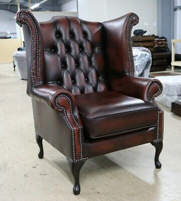 New Chesterfield Scroll Buttoned High Back Wing Chair Antique Rust Leather