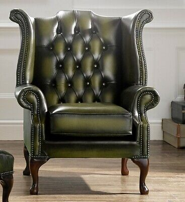Chesterfield Scroll Buttoned High Back Wing Chair Antique Olive Green Leather