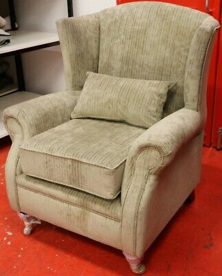 Wing Chair Fireside High Back Armchair Azzuro Mink Fabric EX DISPLAY