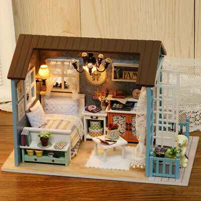 DIY Miniature Dollhouse Kit Realistic Mini 3D Wooden House Room HandCraft Gift
