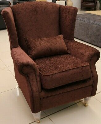 Wing Chair Fireside High Back Armchair Coffee Brown Fabric EX DISPLAY