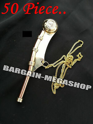 Copper Brass US Navy Boatswain's Call Whistle Bosun's Pipe Nautical Decor Chain