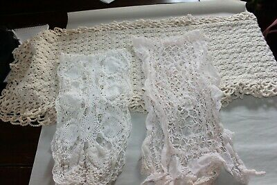 Lot 3 Antique Vintage Handmade Crocheted Doilies Table Runner Scarf