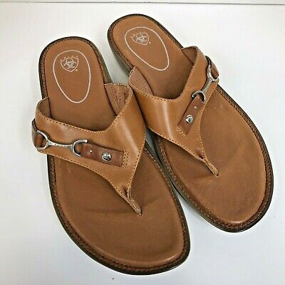 210a272eb Ariat Women s Size 10 Brown Leather Flip Flop Thong Sandal Horse-bit 21282