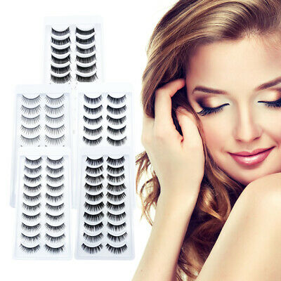 10Pairs 3D Mink False Eyelashes Wispy Cross Long Thick Soft Fake Eye Lashes H6D3