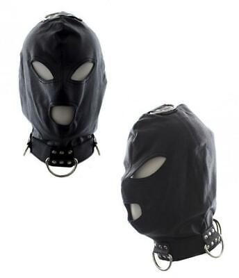 Maschera sexy nero bondage mask con collare integrale fetish black eco pelle