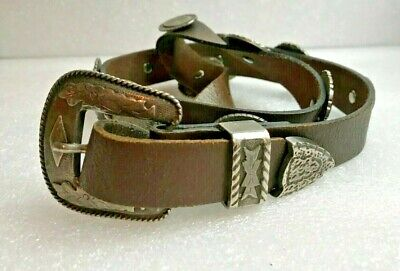 "Vintage WESTERN leather & silver metal engraved conchas COWBOY BELT sz 37"" conch"