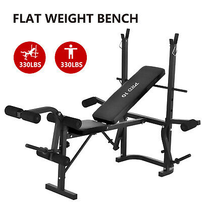 Adjustable Weight Bench Rack Set Gym Fitness Exercise Body Workout Lifting Flat