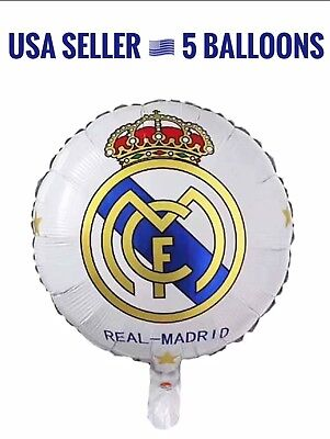 Real Madrid Fcm 5 Balloons Lot Birthday Party Decoration Soccer