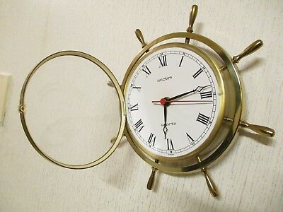 Vintage Solid Brass Ships Helm Wall Clock ( Working )