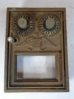 Post Office Box Door Brass Vintage U.S. Eagle Double Dial PO Vault Corbin